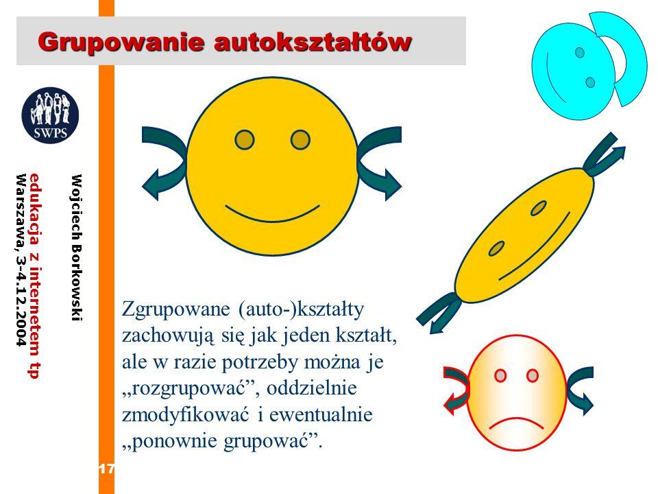 17 edukacja z internetem tpWarszawa, 3-4.12.2004 Wojciech Borkowski Grupowanie autokształtów Zgrupowane (auto-)kształty zachowują się jak jeden kształ