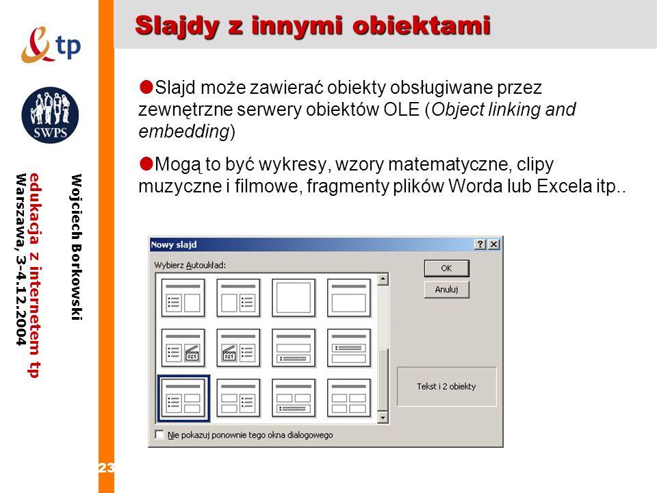 23 edukacja z internetem tpWarszawa, 3-4.12.2004 Wojciech Borkowski Slajdy z innymi obiektami Slajd może zawierać obiekty obsługiwane przez zewnętrzne