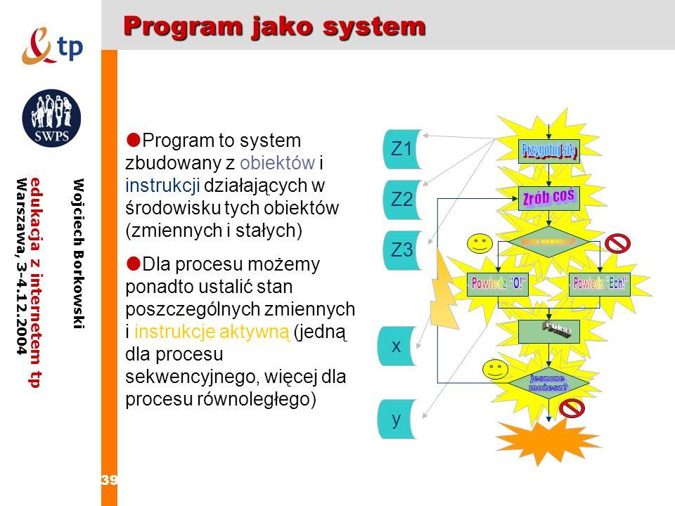 39 edukacja z internetem tpWarszawa, 3-4.12.2004 Wojciech Borkowski Program jako system Program to system zbudowany z obiektów i instrukcji działający
