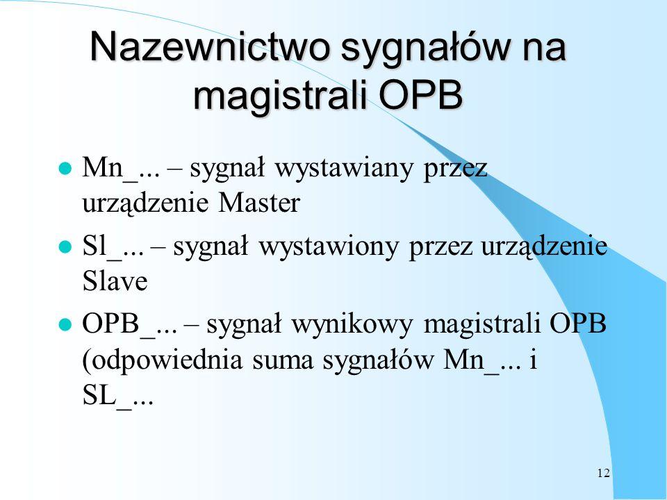 12 Nazewnictwo sygnałów na magistrali OPB l Mn_... – sygnał wystawiany przez urządzenie Master l Sl_... – sygnał wystawiony przez urządzenie Slave l O