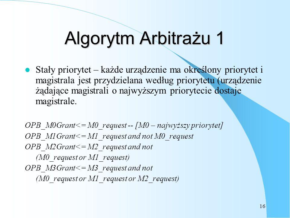 16 Algorytm Arbitrażu 1 l Stały priorytet – każde urządzenie ma określony priorytet i magistrala jest przydzielana według priorytetu (urządzenie żądaj
