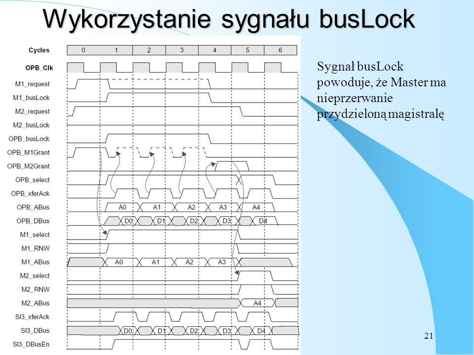 21 Wykorzystanie sygnału busLock Sygnał busLock powoduje, że Master ma nieprzerwanie przydzieloną magistralę