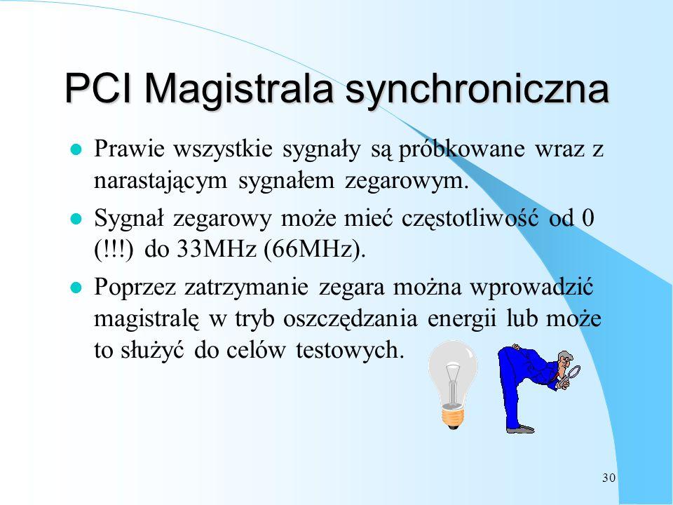 30 PCI Magistrala synchroniczna l Prawie wszystkie sygnały są próbkowane wraz z narastającym sygnałem zegarowym. l Sygnał zegarowy może mieć częstotli
