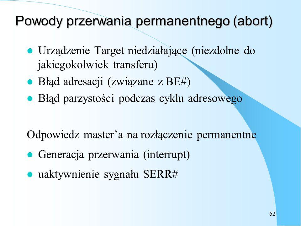 62 Powody przerwania permanentnego (abort) l Urządzenie Target niedziałające (niezdolne do jakiegokolwiek transferu) l Błąd adresacji (związane z BE#)