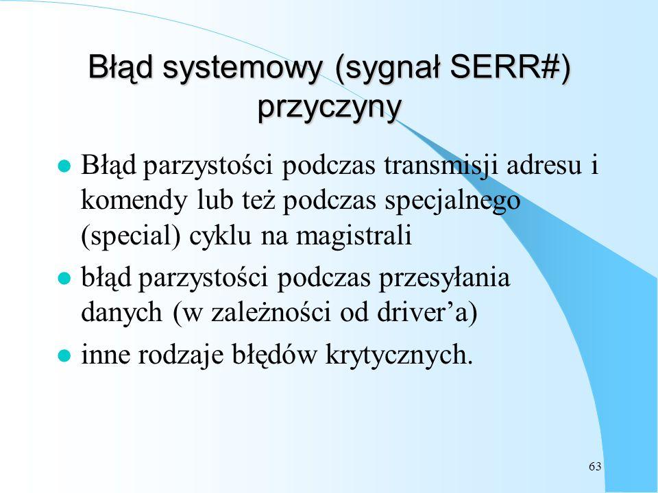 63 Błąd systemowy (sygnał SERR#) przyczyny l Błąd parzystości podczas transmisji adresu i komendy lub też podczas specjalnego (special) cyklu na magis