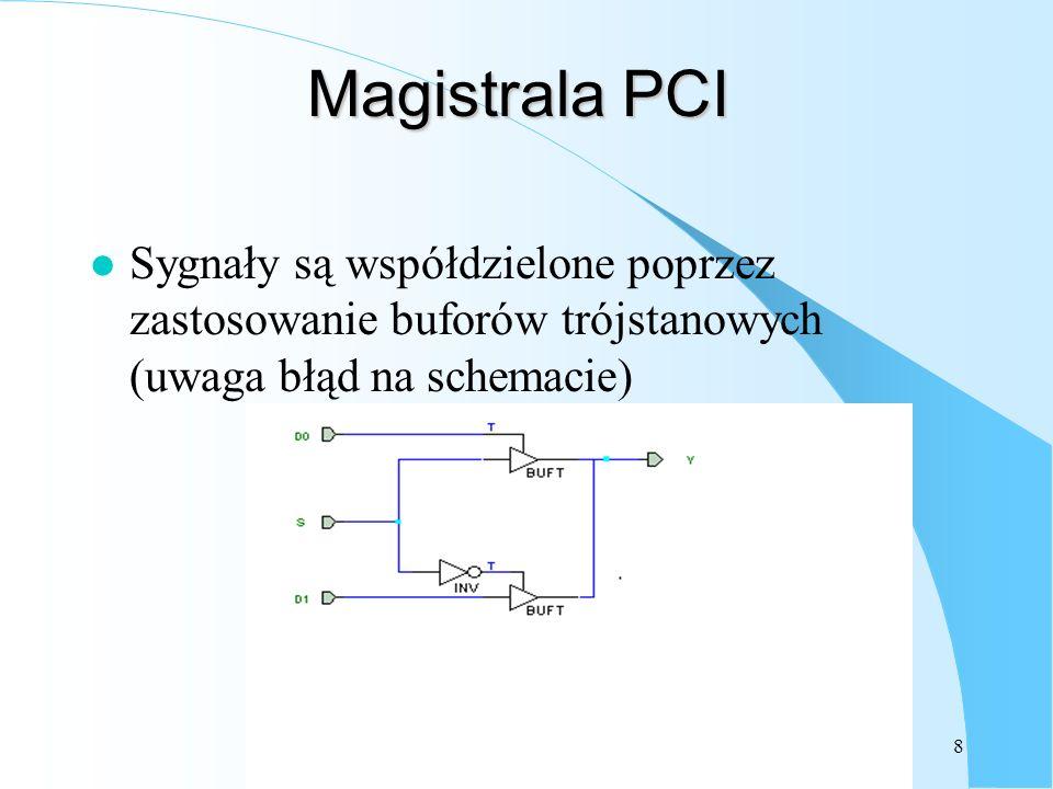 9 Różne rodzaje urządzeń: l Master (OPB), Initiator (PCI) – inicjuje transfer: podaje sygnał gotowości do transmisji (sygnał Select – OPB lub adres na magistrale adresową, dane (w przypadku zapisu) na magistralę l Slave (OPB), Target (PCI) – zachowuje się podobnie jak pamięć – czyli odczytuje adres i wystawia dane (w przypadku odczytu).
