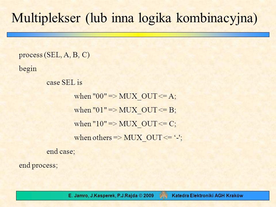 Multiplekser (lub inna logika kombinacyjna) process (SEL, A, B, C) begin case SEL is when 00 => MUX_OUT <= A; when 01 => MUX_OUT <= B; when 10 => MUX_OUT <= C; when others => MUX_OUT <= - ; end case; end process; E.