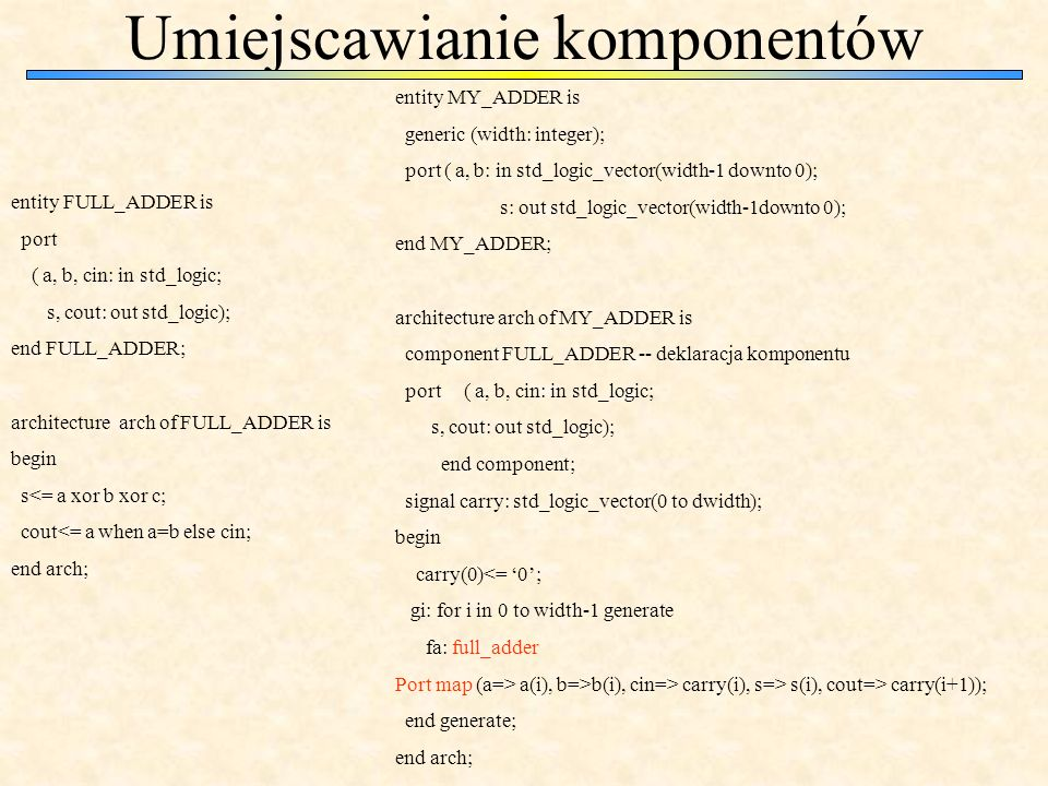 Umiejscawianie komponentów entity FULL_ADDER is port ( a, b, cin: in std_logic; s, cout: out std_logic); end FULL_ADDER; architecture arch of FULL_ADDER is begin s<= a xor b xor c; cout<= a when a=b else cin; end arch; entity MY_ADDER is generic (width: integer); port ( a, b: in std_logic_vector(width-1 downto 0); s: out std_logic_vector(width-1downto 0); end MY_ADDER; architecture arch of MY_ADDER is component FULL_ADDER -- deklaracja komponentu port ( a, b, cin: in std_logic; s, cout: out std_logic); end component; signal carry: std_logic_vector(0 to dwidth); begin carry(0)<= 0; gi: for i in 0 to width-1 generate fa: full_adder Port map (a=> a(i), b=>b(i), cin=> carry(i), s=> s(i), cout=> carry(i+1)); end generate; end arch;