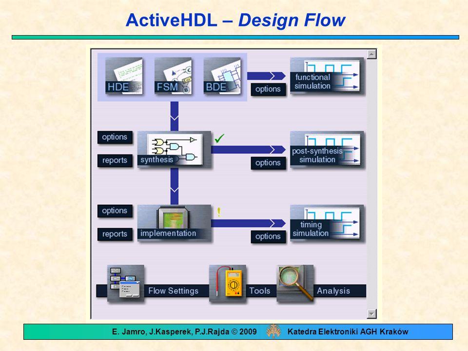 ActiveHDL – Design Flow E. Jamro, J.Kasperek, P.J.Rajda © 2009 Katedra Elektroniki AGH Kraków