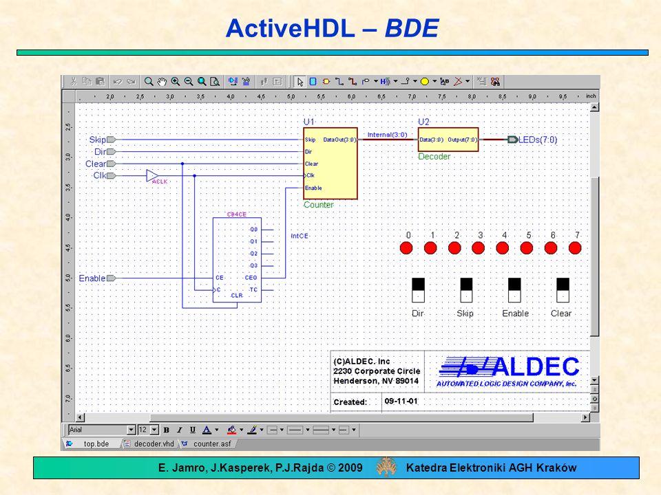 ActiveHDL – BDE E. Jamro, J.Kasperek, P.J.Rajda © 2009 Katedra Elektroniki AGH Kraków