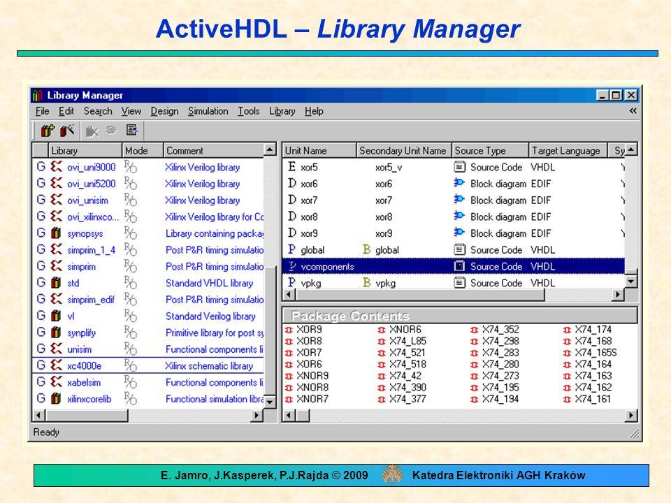 ActiveHDL – Library Manager E. Jamro, J.Kasperek, P.J.Rajda © 2009 Katedra Elektroniki AGH Kraków