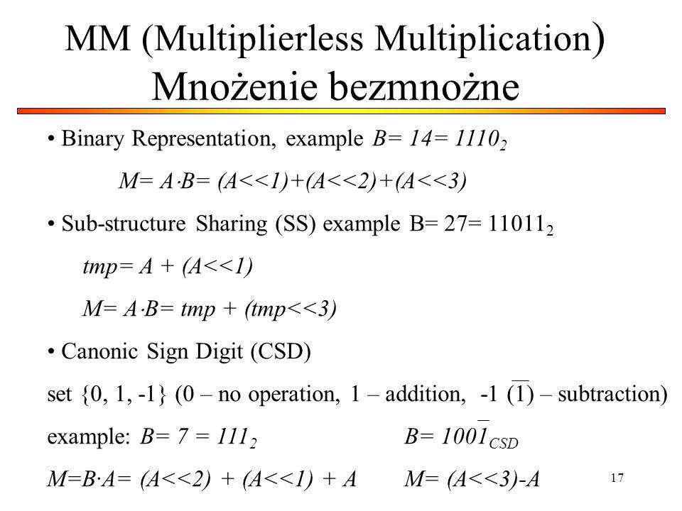 17 MM (Multiplierless Multiplication ) Mnożenie bezmnożne Binary Representation, example B= 14= 1110 2 M= A B= (A<<1)+(A<<2)+(A<<3) Sub-structure Shar