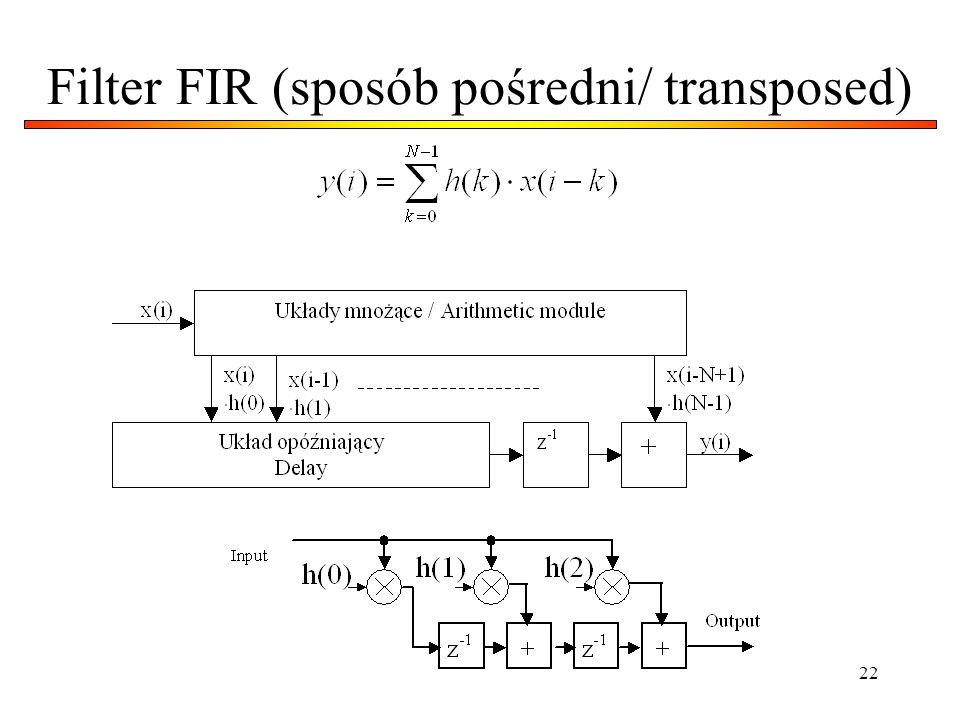 22 Filter FIR (sposób pośredni/ transposed)