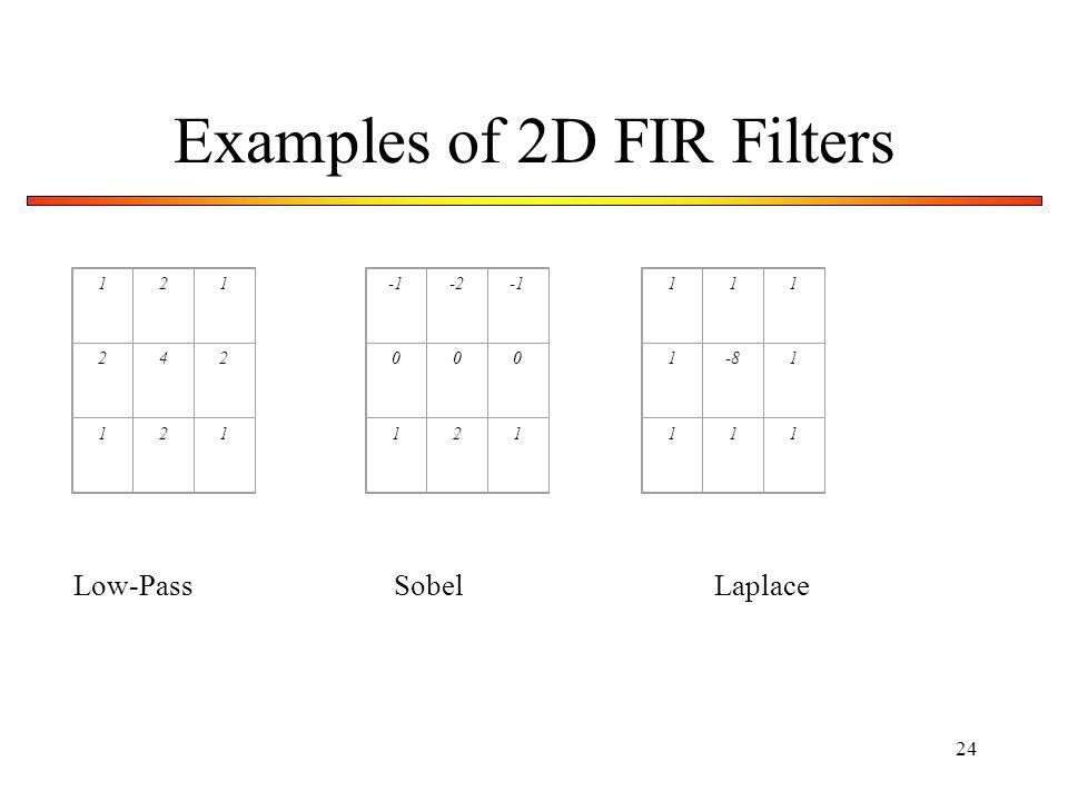 24 Examples of 2D FIR Filters 121 242 121 -2 000 121 111 1-81 111 Low-PassSobelLaplace