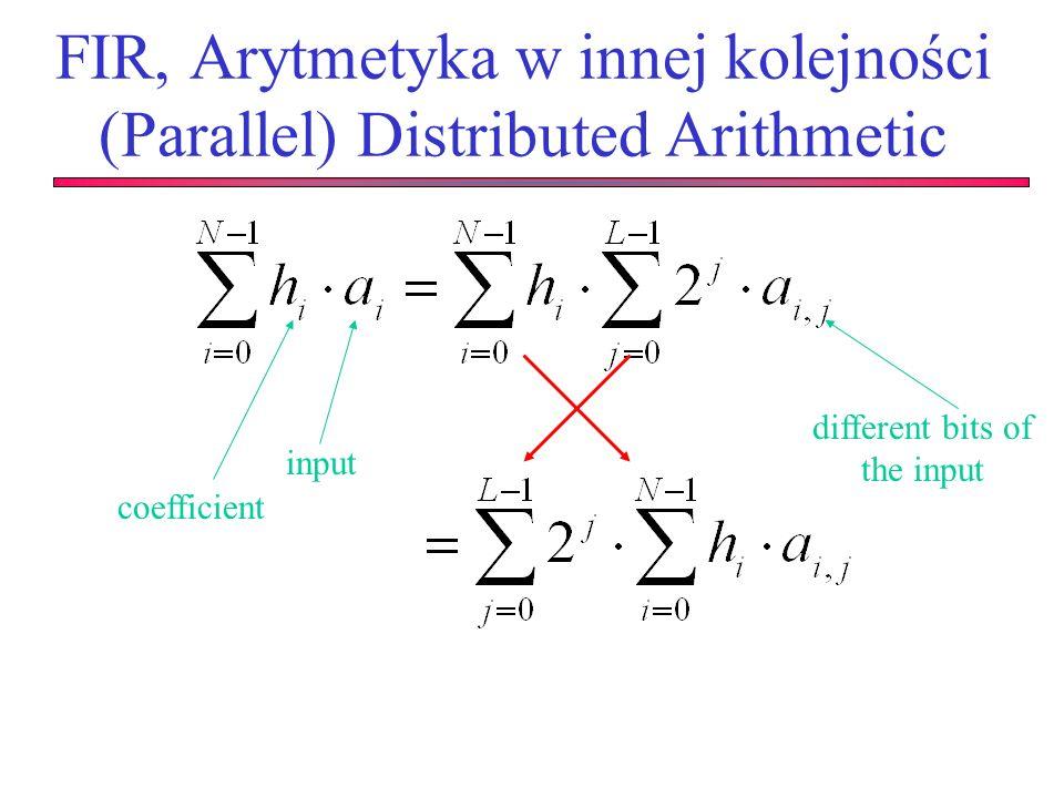 FIR, Arytmetyka w innej kolejności (Parallel) Distributed Arithmetic coefficient input different bits of the input