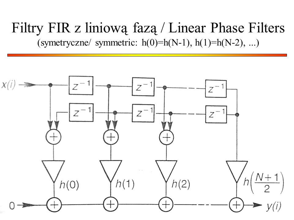 28 Filtry FIR z liniową fazą / Linear Phase Filters (symetryczne/ symmetric: h(0)=h(N-1), h(1)=h(N-2),...)