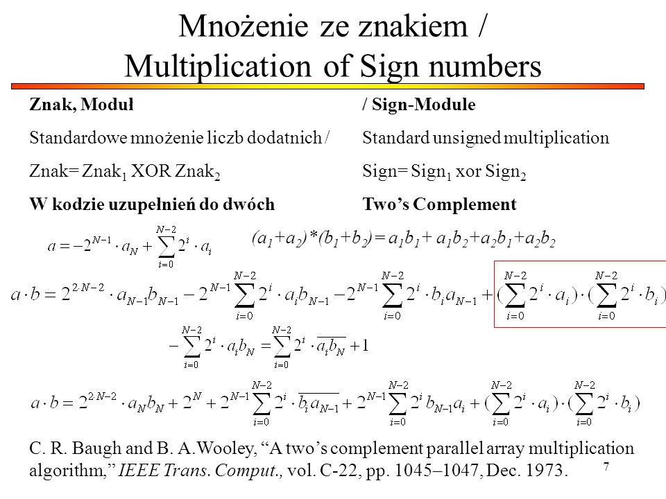 7 Mnożenie ze znakiem / Multiplication of Sign numbers Znak, Moduł / Sign-Module Standardowe mnożenie liczb dodatnich / Standard unsigned multiplicati