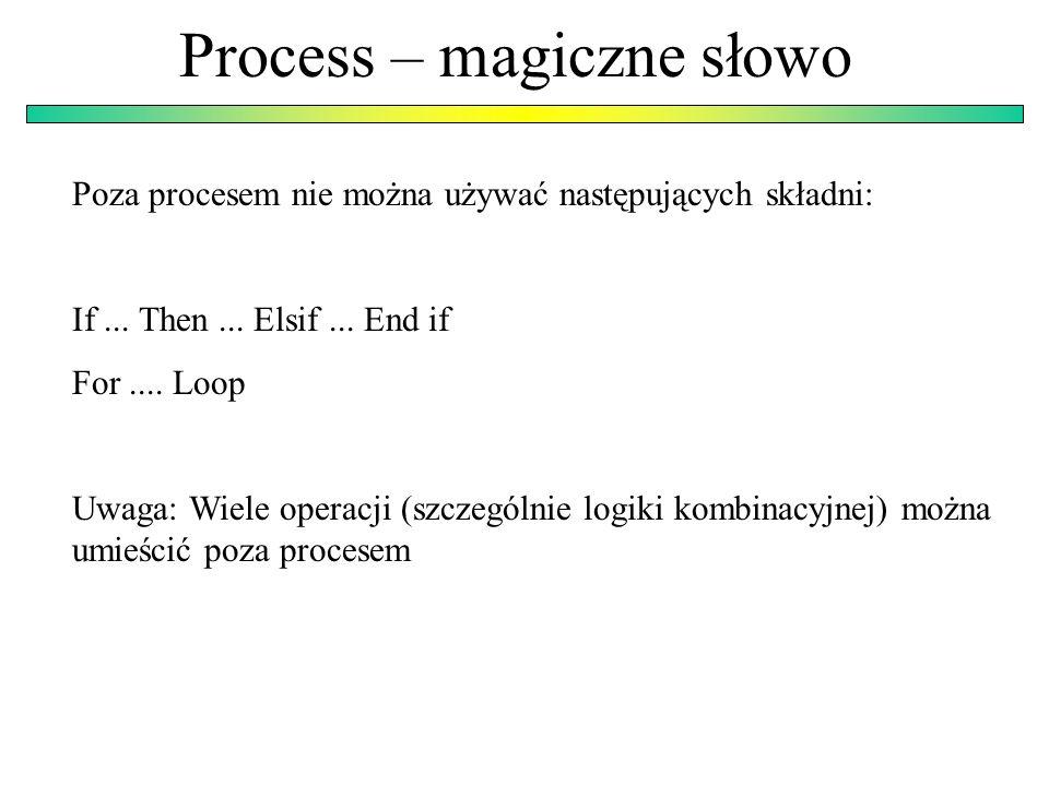Process – magiczne słowo Poza procesem nie można używać następujących składni: If...