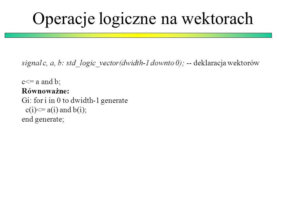 Operacje logiczne na wektorach signal c, a, b: std_logic_vector(dwidth-1 downto 0); -- deklaracja wektorów c<= a and b; Równoważne: Gi: for i in 0 to dwidth-1 generate c(i)<= a(i) and b(i); end generate;