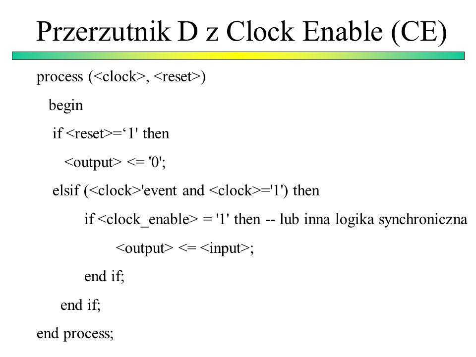Wartości domyślne, uaktualnienie modułów Stary komponent component and_gate port ( din1, din2: in std_logic; dout: out std_logic); end component; Nowy komponent component and_gate generic (invert_output: integer:= 0); -- dodanie dodatkowego parametru port ( din1, din2, din3: in std_logic:= 1; -- wartość domyślna 1 dout: out std_logic); end component;