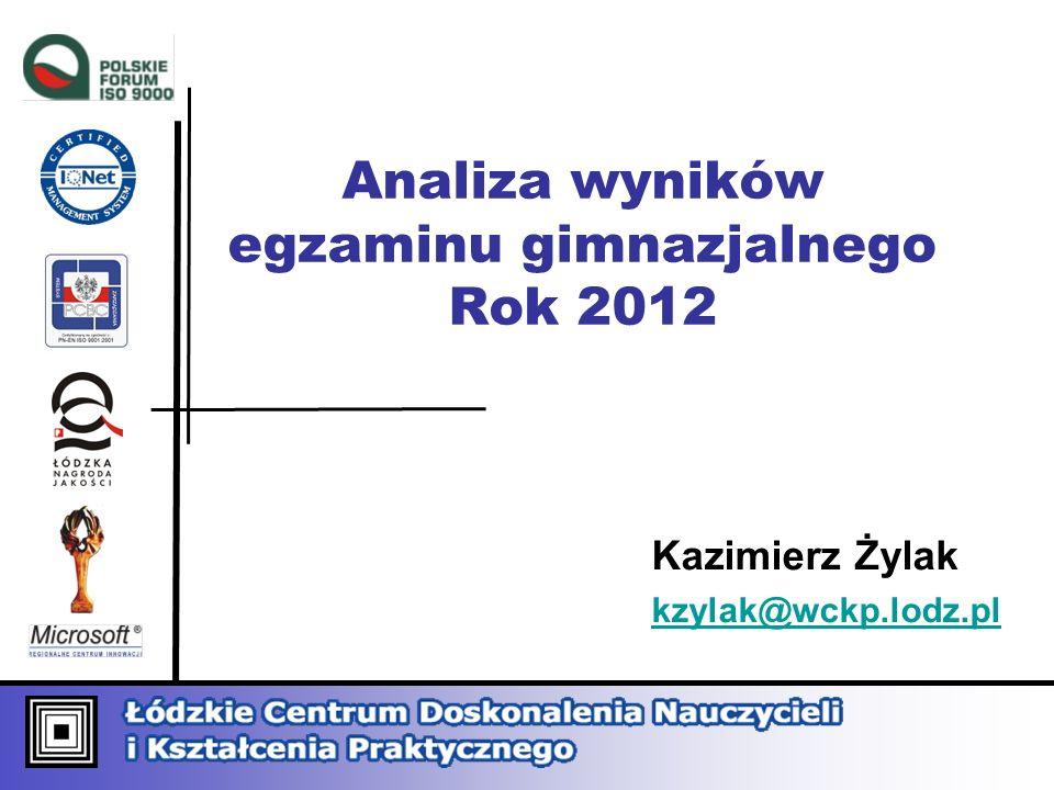 Analiza wyników egzaminu gimnazjalnego Rok 2012 Kazimierz Żylak kzylak@wckp.lodz.pl