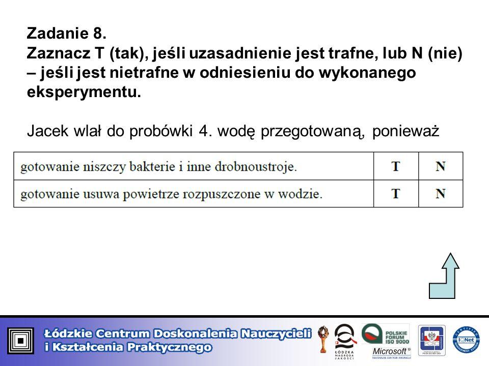 Zadanie 8. Zaznacz T (tak), jeśli uzasadnienie jest trafne, lub N (nie) – jeśli jest nietrafne w odniesieniu do wykonanego eksperymentu. Jacek wlał do