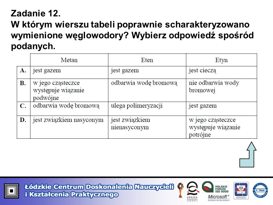 Zadanie 12. W którym wierszu tabeli poprawnie scharakteryzowano wymienione węglowodory? Wybierz odpowiedź spośród podanych.