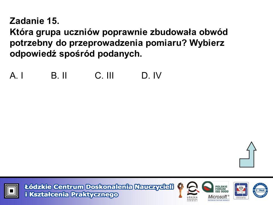 Zadanie 15. Która grupa uczniów poprawnie zbudowała obwód potrzebny do przeprowadzenia pomiaru? Wybierz odpowiedź spośród podanych. A. I B. II C. III