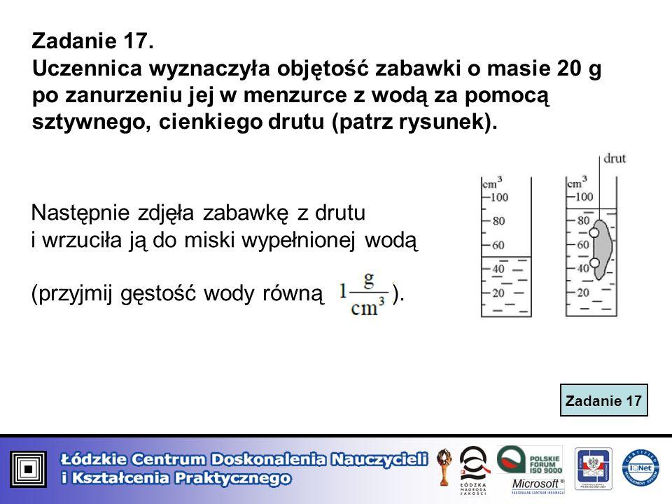 Zadanie 17. Uczennica wyznaczyła objętość zabawki o masie 20 g po zanurzeniu jej w menzurce z wodą za pomocą sztywnego, cienkiego drutu (patrz rysunek