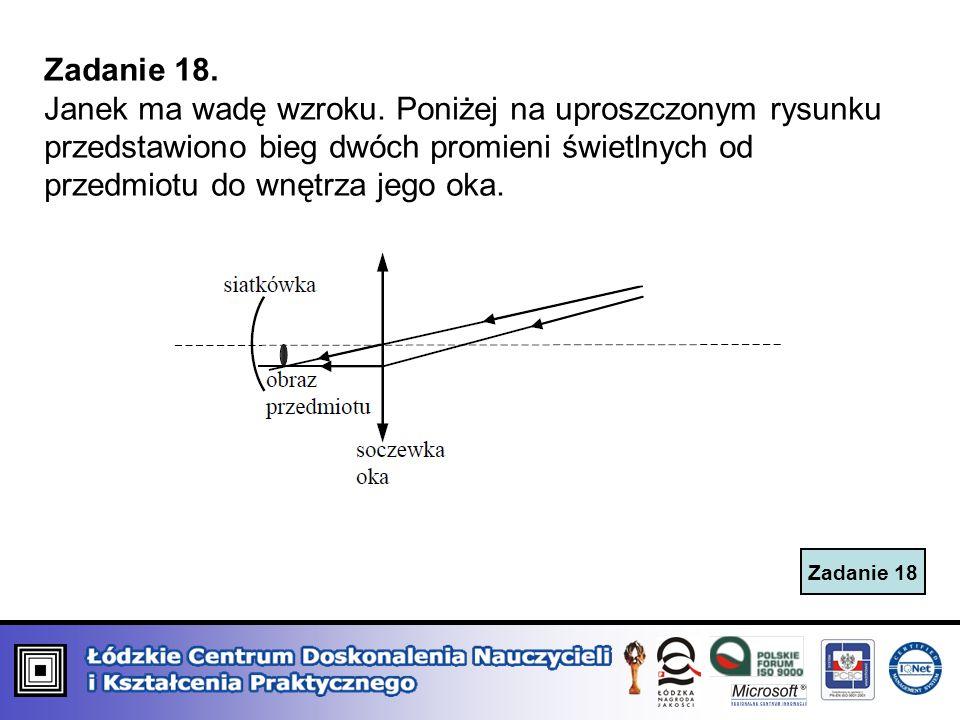 Zadanie 18 Zadanie 18. Janek ma wadę wzroku. Poniżej na uproszczonym rysunku przedstawiono bieg dwóch promieni świetlnych od przedmiotu do wnętrza jeg