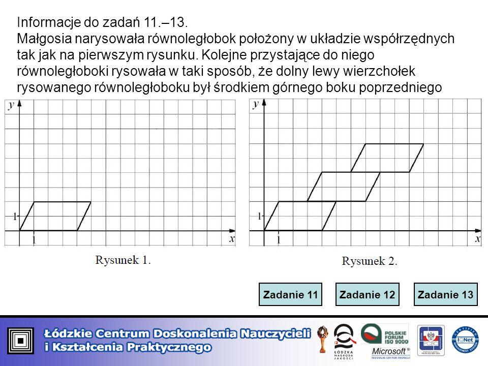 Zadanie 12Zadanie 13Zadanie 11 Informacje do zadań 11.–13. Małgosia narysowała równoległobok położony w układzie współrzędnych tak jak na pierwszym ry