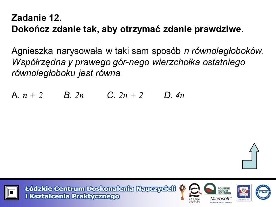 Zadanie 12. Dokończ zdanie tak, aby otrzymać zdanie prawdziwe. Agnieszka narysowała w taki sam sposób n równoległoboków. Współrzędna y prawego gór-neg