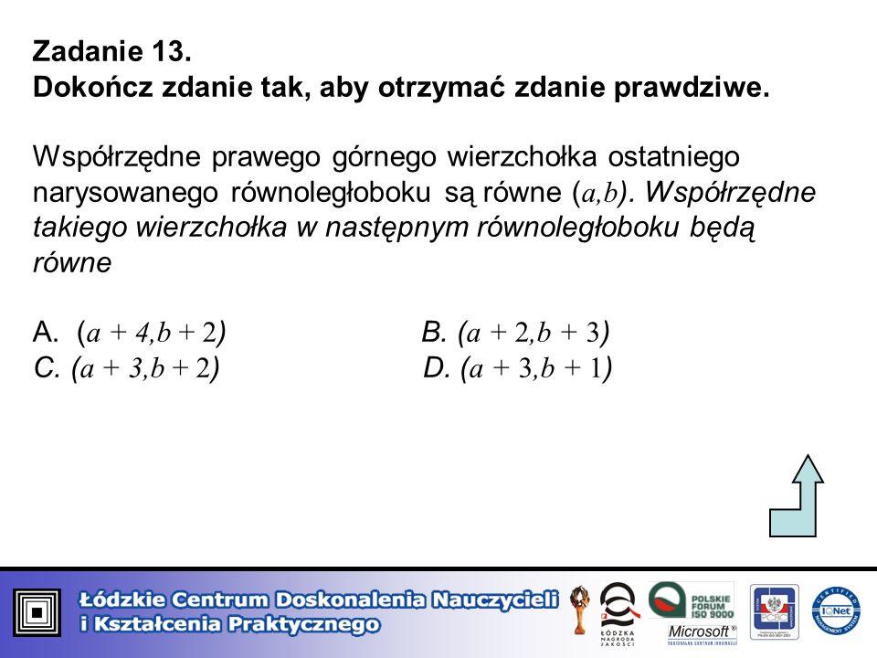 Zadanie 13. Dokończ zdanie tak, aby otrzymać zdanie prawdziwe. Współrzędne prawego górnego wierzchołka ostatniego narysowanego równoległoboku są równe