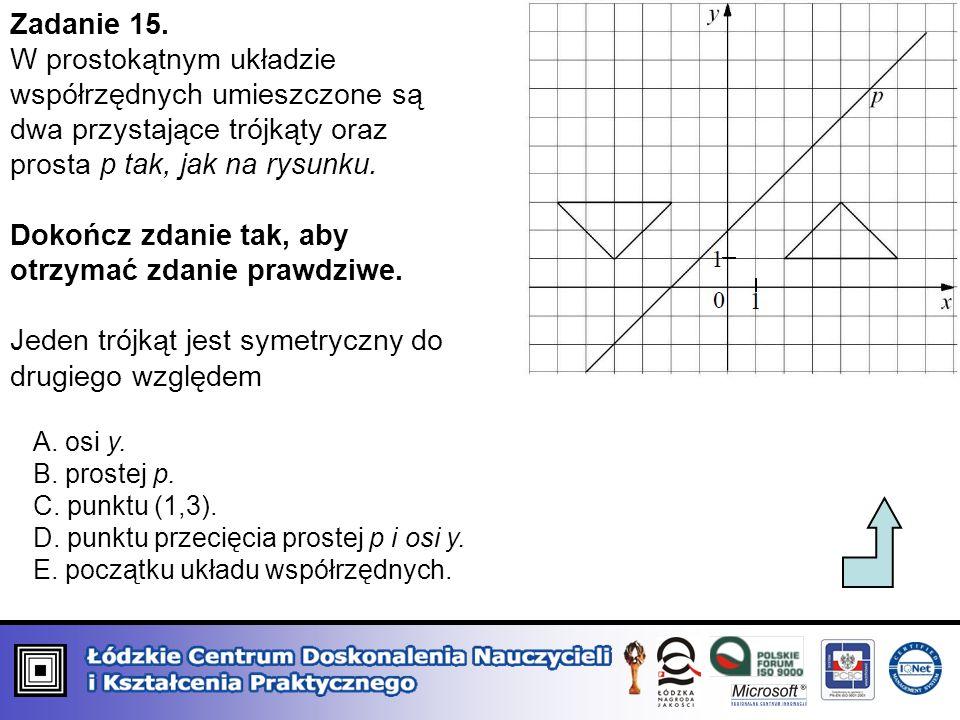 Zadanie 15. W prostokątnym układzie współrzędnych umieszczone są dwa przystające trójkąty oraz prosta p tak, jak na rysunku. Dokończ zdanie tak, aby o