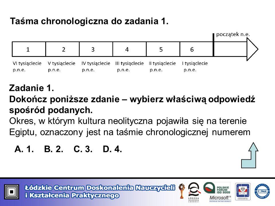 Taśma chronologiczna do zadania 1. Zadanie 1. Dokończ poniższe zdanie – wybierz właściwą odpowiedź spośród podanych. Okres, w którym kultura neolitycz