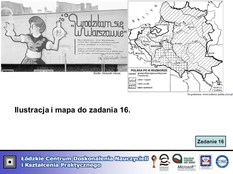 Zadanie 16 Ilustracja i mapa do zadania 16.