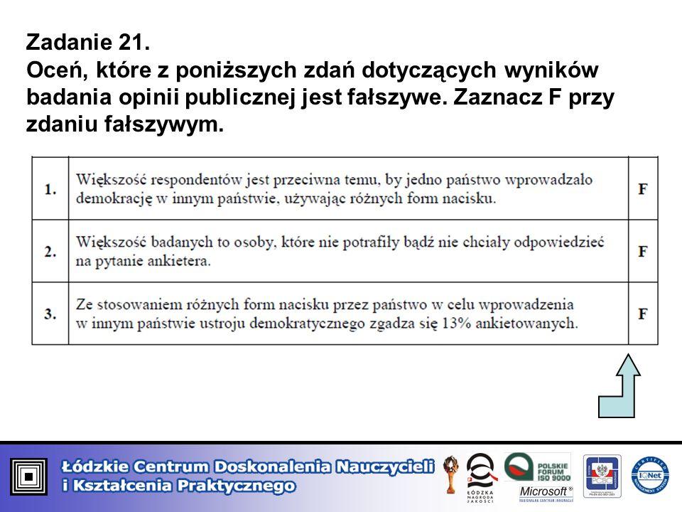 Zadanie 21. Oceń, które z poniższych zdań dotyczących wyników badania opinii publicznej jest fałszywe. Zaznacz F przy zdaniu fałszywym.