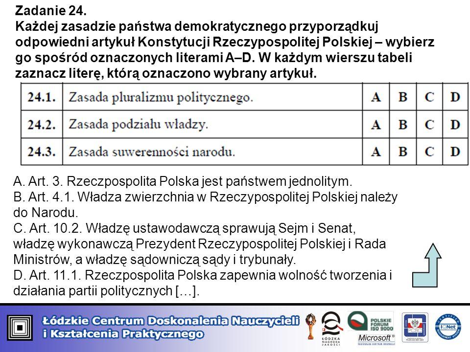 Zadanie 24. Każdej zasadzie państwa demokratycznego przyporządkuj odpowiedni artykuł Konstytucji Rzeczypospolitej Polskiej – wybierz go spośród oznacz