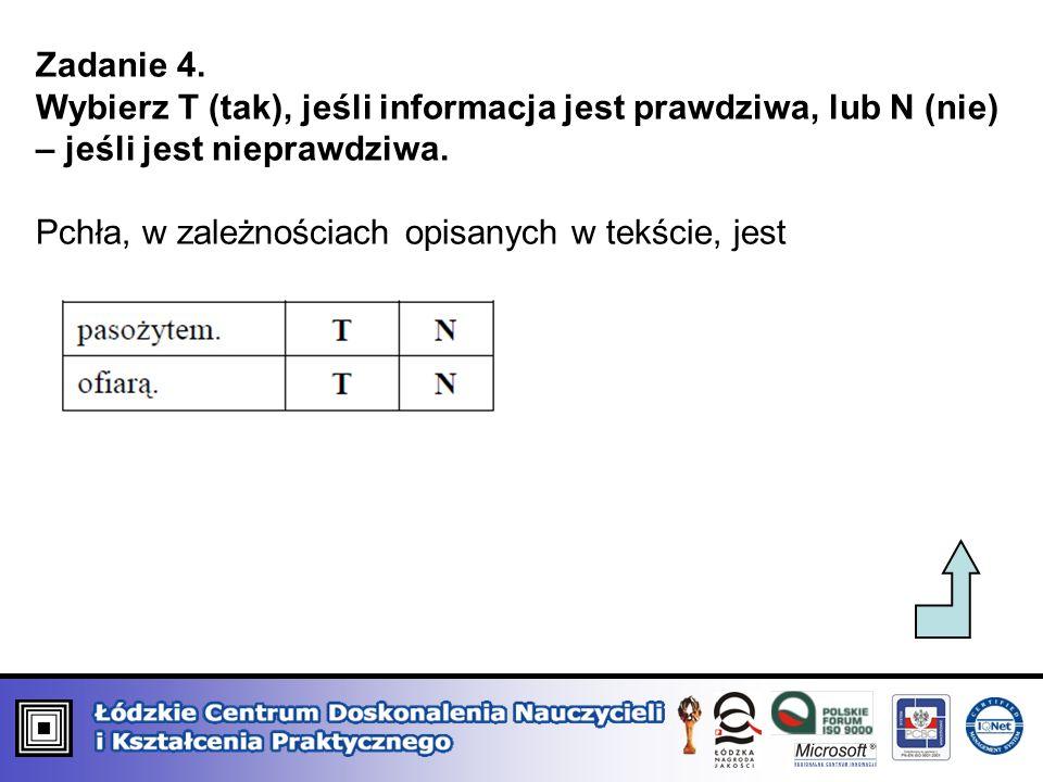 Zadanie 4. Wybierz T (tak), jeśli informacja jest prawdziwa, lub N (nie) – jeśli jest nieprawdziwa. Pchła, w zależnościach opisanych w tekście, jest