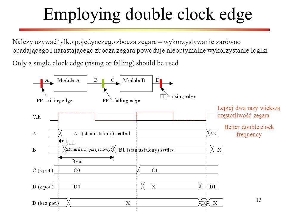 13 Employing double clock edge Należy używać tylko pojedynczego zbocza zegara – wykorzystywanie zarówno opadającego i narastającego zbocza zegara powo