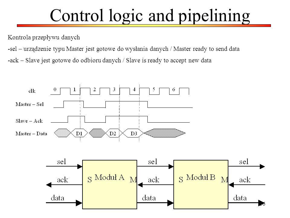 16 Control logic and pipelining Kontrola przepływu danych -sel – urządzenie typu Master jest gotowe do wysłania danych / Master ready to send data -ac