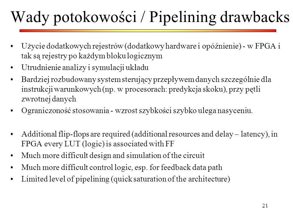 21 Wady potokowości / Pipelining drawbacks Użycie dodatkowych rejestrów (dodatkowy hardware i opóźnienie) - w FPGA i tak są rejestry po każdym bloku l