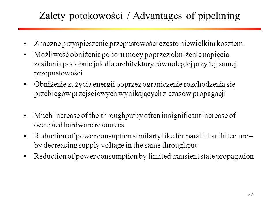 22 Zalety potokowości / Advantages of pipelining Znaczne przyspieszenie przepustowości często niewielkim kosztem Możliwość obniżenia poboru mocy poprz