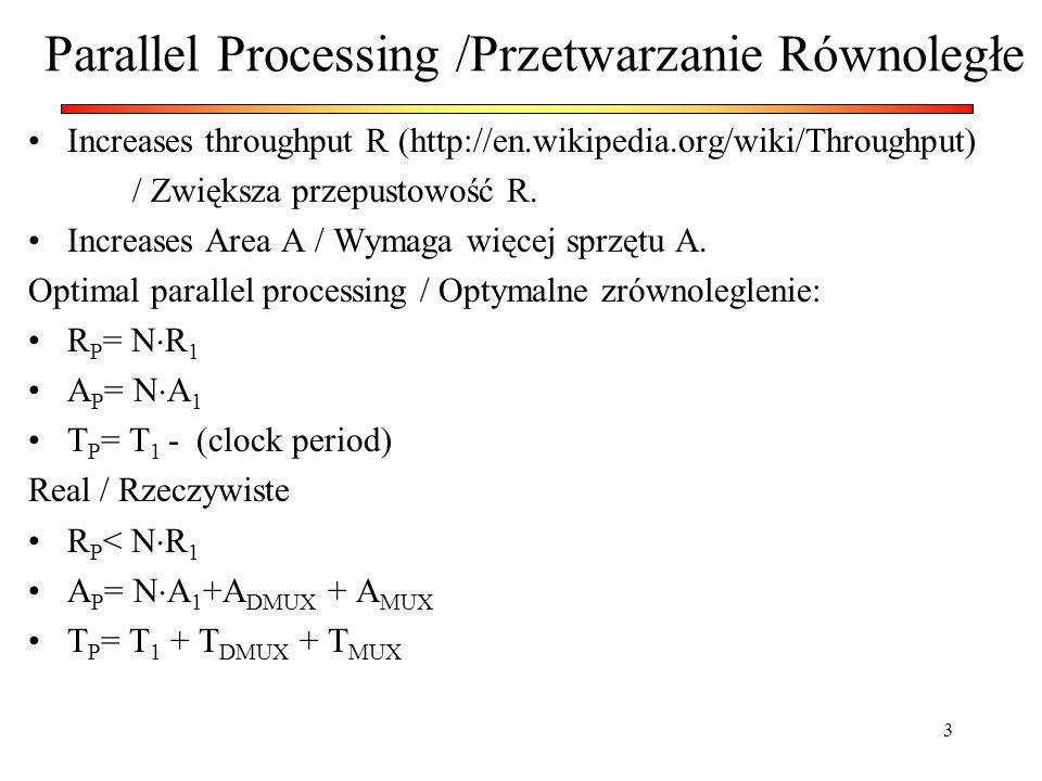 3 Parallel Processing /Przetwarzanie Równoległe Increases throughput R (http://en.wikipedia.org/wiki/Throughput) / Zwiększa przepustowość R. Increases