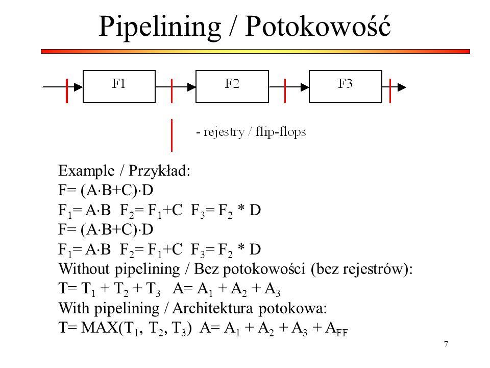 7 Pipelining / Potokowość Example / Przykład: F= (A B+C) D F 1 = A B F 2 = F 1 +C F 3 = F 2 * D F= (A B+C) D F 1 = A B F 2 = F 1 +C F 3 = F 2 * D With