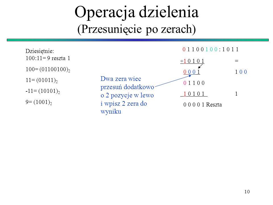 10 Operacja dzielenia (Przesunięcie po zerach) 0 1 1 0 0 1 0 0 : 1 0 1 1 + 1 0 1 0 1= 0 0 0 11 0 0 0 1 1 0 0 1 0 1 0 11 0 0 0 0 1 Reszta Dziesiętnie: