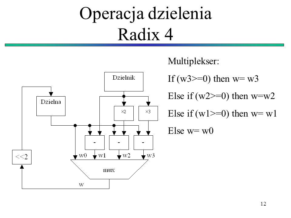 12 Operacja dzielenia Radix 4 Multiplekser: If (w3>=0) then w= w3 Else if (w2>=0) then w=w2 Else if (w1>=0) then w= w1 Else w= w0