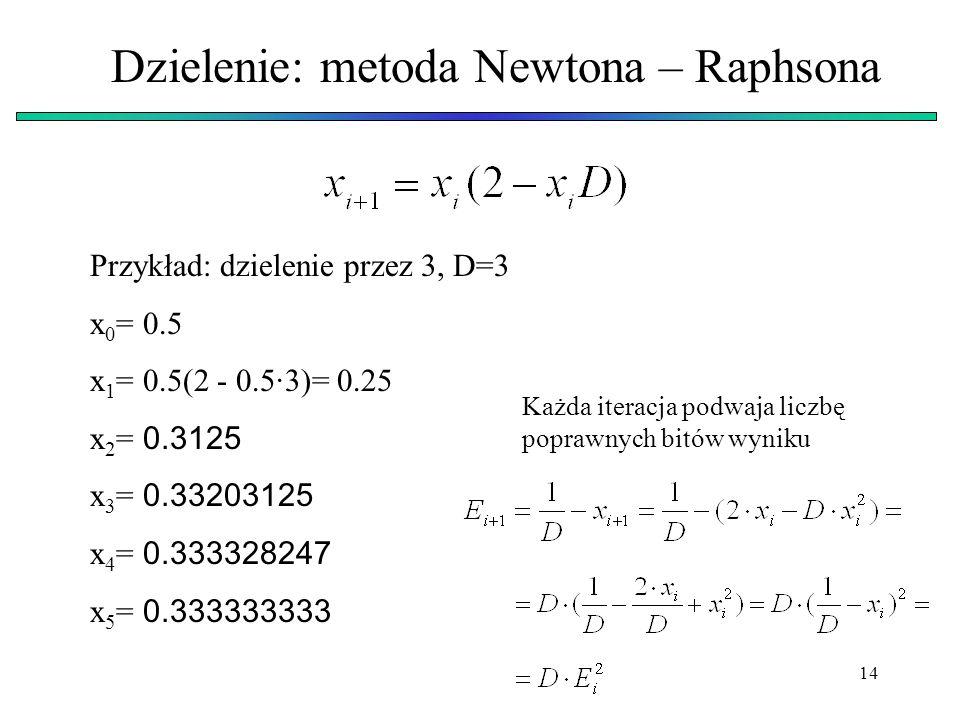 14 Dzielenie: metoda Newtona – Raphsona Przykład: dzielenie przez 3, D=3 x 0 = 0.5 x 1 = 0.5(2 - 0.5·3)= 0.25 x 2 = 0.3125 x 3 = 0.33203125 x 4 = 0.33
