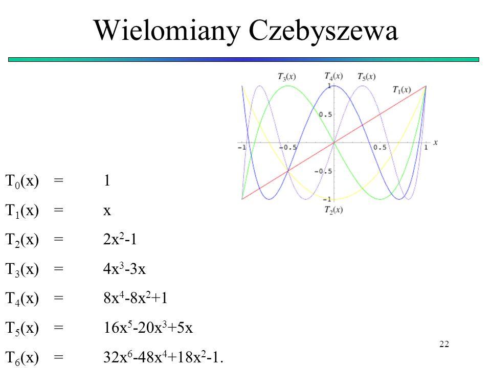 22 Wielomiany Czebyszewa T 0 (x)=1 T 1 (x)=x T 2 (x)=2x 2 -1 T 3 (x)=4x 3 -3x T 4 (x)=8x 4 -8x 2 +1 T 5 (x)=16x 5 -20x 3 +5x T 6 (x)=32x 6 -48x 4 +18x
