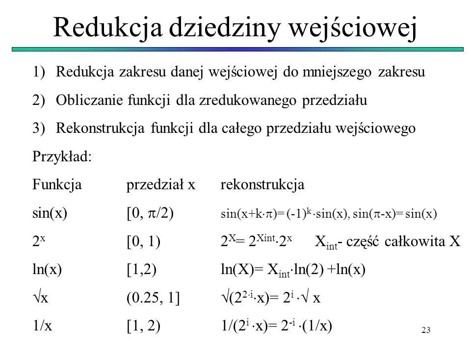 23 Redukcja dziedziny wejściowej 1)Redukcja zakresu danej wejściowej do mniejszego zakresu 2)Obliczanie funkcji dla zredukowanego przedziału 3)Rekonst
